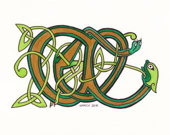 Celtic fantastic beast medieval illumination, 15 x 20 cm photo paper print