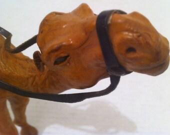 Vintage Leather Stuffed Camel, Shelf Decor, Home Decoration, 8 x 8, Camel Saddle, Reins, Desert, Oasis