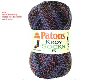 CAMEO COLORS. Patons Kroy FX Sock Yarn is a washable wool blend, super fine Self-Striping Washable Wool Sock Yarn. 2 Balls = 1 Pair 1.75oz >