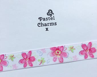 Pretty large pink flower ribbon  2 yards 22mm wide x