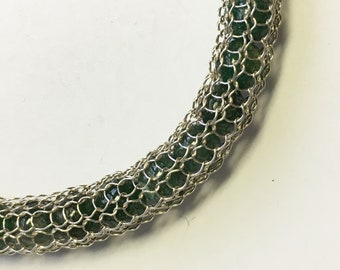 Knitted bracelet with Aventurine