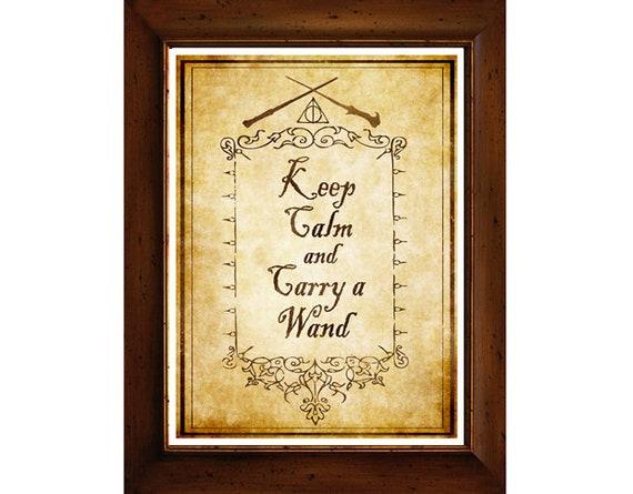 Harry Potter Digital Art Print Keep Calm and Carry a Wand