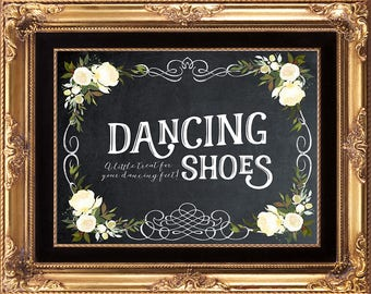 dancing feet sign, dancing shoes sign, a little treat for your feet, chalkboard dancing sign,  chalkboard wedding sign, you print, 8x10