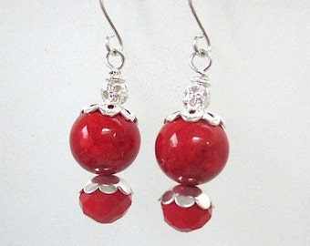 Red and Silver Earrings, Chunky Beaded Drop Earrings, Large Red Spheres, Beach and Summer Themes , Gift for Women, Present for Her E397