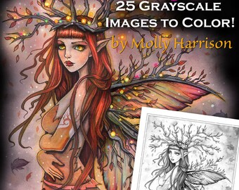 Printable Instant Download - Mystical Autumn Grayscale Coloring Book by Molly Harrison - Fall Fairies, Witches and More!