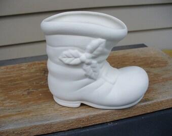Ceramic Bisque Santa Boot