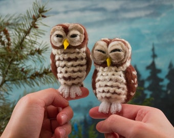 DIY Needle-Felting Kit - Owl - all supplies included - Beginner to Advanced Level Felters