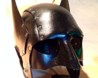 Black Leather batman cowl. Mask. Helmet. Steambat - steampunk style batman mask by skinznhydez leather armoury