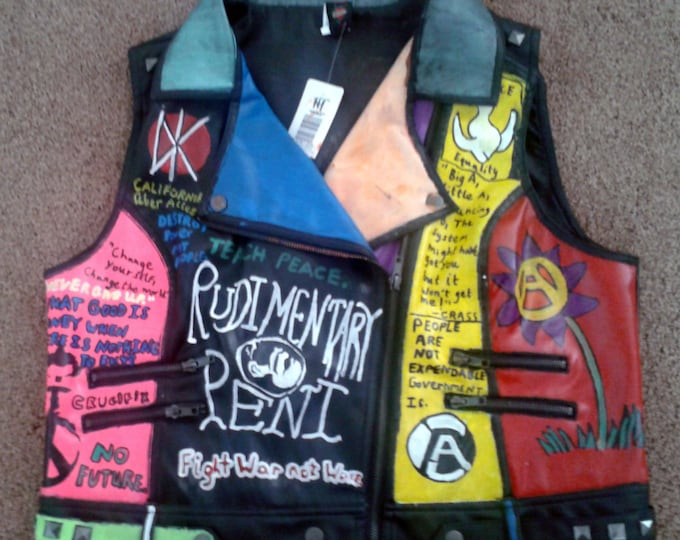 Punk Vegan Womens New XXL Vest DIY Punk Rock Crust Peace Punk on Sale Made From Pleather and Studded Band Logos Misfits Subhumans Crass XVX