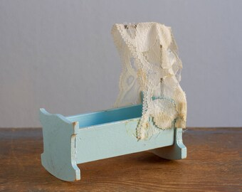 Lundby Wooden Rocking Cradle with Lace Canopy - 1:16 / 3/4 Inch Scale Vintage Dollhouse Furniture