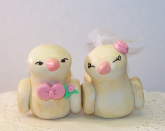 Custom Wedding Cake Topper Romantic Love Birds - Antiqued - Choice of Colors