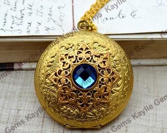 Großes Medaillon Halskette filigrane Aqua blauen Edelstein Roh-Messing