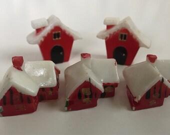 5 Miniature Christmas Plastic Houses Diorama Village Miniature Scene Ornament Crafts