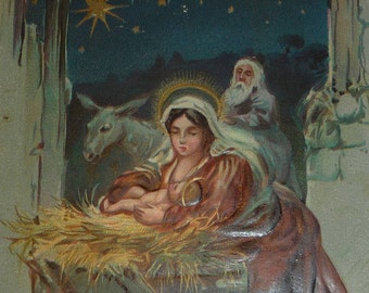 Mary With the Baby Jesus, Joseph and Donkey in a Stable Antique TUCK Christmas Postcard