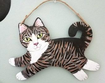 Tabby Cat Art - Cat Sign - Cat Wall Art - Cat Art Original - Garden Art - Cat Lover Gift - Cat Folk Art - Tabby Cat Memorial