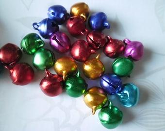 x 10 mixed pendants bells of different colors metal 13.5 x 11.5 mm