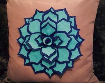 Designer, 3D Luxury Pink/Blue Flower/Petal Handmade Bespoke Decorative Cushion Cover, Throw Pillow - Free UK Shipping