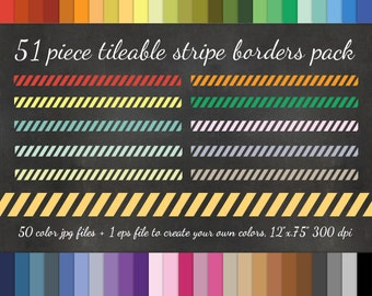 80% OFF SALE 51 Piece Diagonal Striped Washi Tape Clipart Pack - 50 Colors + EPS Vector Clipart - Striped Border Digital Washi Tape Clip art