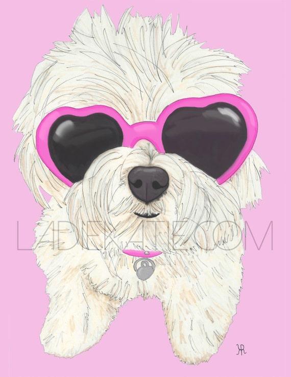 OM effin G, print of my original dog pop illustration with pink, blue or purple background, Maltese Art