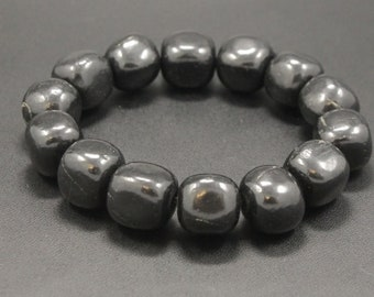 "12 mm Black Shungite Bead Stretchy Bracelet 19cm/7.6"""