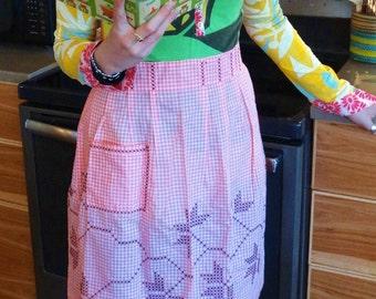 Gingham Hostess Apron - Pink Gingham with Black Cross-stitch - Half Apron