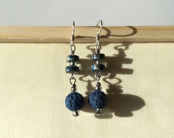 Blue, Lava Dangle Earrings, Sodalite, Handmade ear wires, Gift for Her,