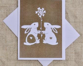 Bunny Love,  Blank Greeting Card, Love Card,