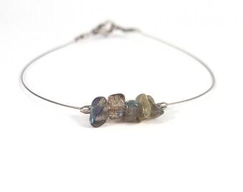 Delicate bracelet, labradorite jewelry, boho jewelry, stainless steel silver jewelry, silver wire bracelet, boho bracelet labradorite shikky