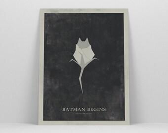 Batman Begins ~ Movie Poster, Batman Gift, Art Print by Christopher Conner