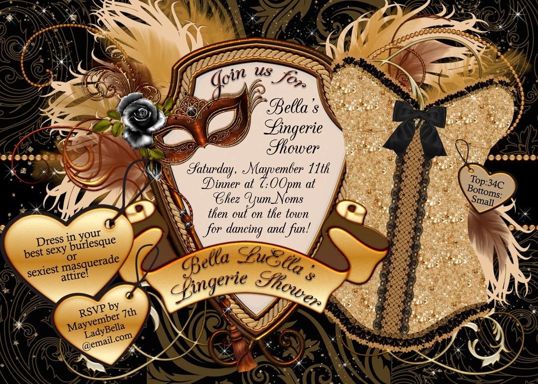 Masquerade Bachelorette Party Invitation Bachelorette Party