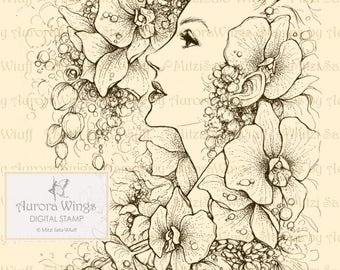 Digital Stamp - Instant Download - Orchidia 2 - Woman and Orchid Flowers - Fantasy Line Art Digi for Arts and Crafts - AuroraWings