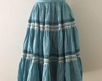 Vintage Prairie Skirt / Blue Gingham Skirt / Prairie Skirt Small /  Linen Farm Skirt / Square Dancing Skirt / Blue Gingham Retro Skirt Small