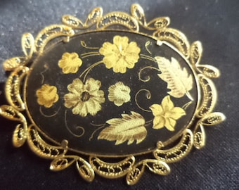Beautiful Spanish Damascene Floral Filligree Brooch