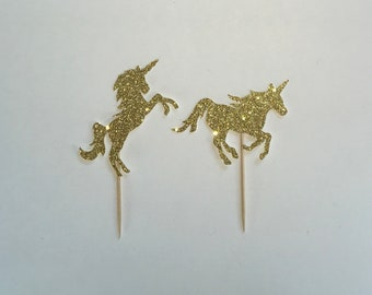 Glitter Unicorn Cupcake Toppers {6 CT}, Birthday Party Decoration, Baby Shower Toppers, Fairy Tale Theme