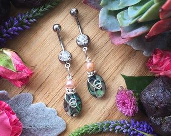 mermaid belly ring, abalone shell , Body jewelry, naval ring, mermaid jewelry