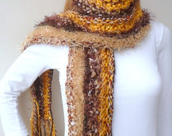ON SALE Hand knit scarf - Gold and Brown - Hawthorn scarf - designer sport  fan scarf - 8 different yarns