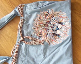 hand made denim and lined bag