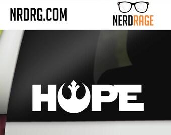 Star Wars Hope San Serif Decal - Rebel Alliance Star Wars Car Decal -  Star Wars laptop, phone and window sticker