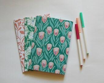 Set of 3 Floral Notebooks | Dot Grid Notebook Set | Bullet Journal | Dot Grid A5 Notebook | Patterned Illustrated Journal Set | Gift for Her