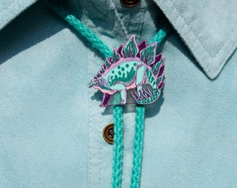 Big or Small Stegosaurus bolo tie with Purple or Light Teal cord