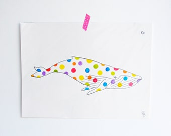 A3 Rainbow Polka dot Whale - Original Artwork