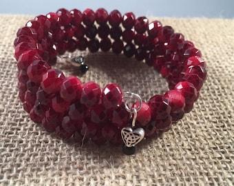 Red Bicone Beaded Memory Wire Bracelet, Memory Wire Bracelet, Bicone Beads