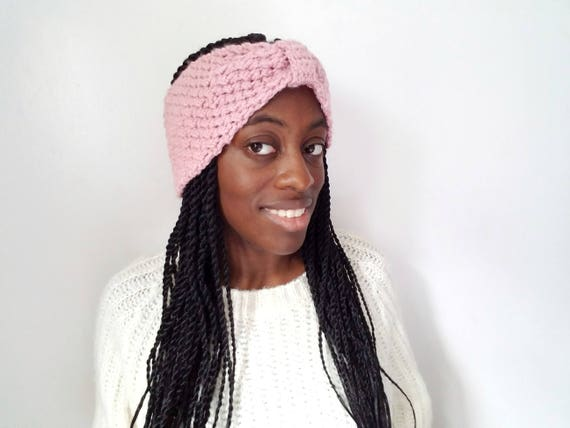 Crochet Ear Warmer - Soft Rose - Gifts for Her - Pink Fall Headband Women - Best Friend Gifts - Valentines Day Gifts for Girlfriend
