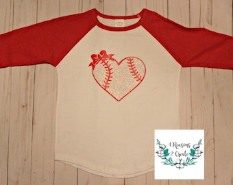 Baseball Sister Shirt - Glitter Baseball Heart with Bow - Girl's Baseball Raglan T-Shirt