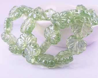 Czech glass beads-Maple leaf Pressed bead Beads-11x13mm-light green sage green luster Transparent-10 PCs