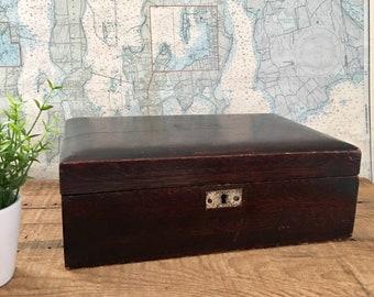 Vintage mahogany cigar humidor, wood cigar box, silver plated brass, cigar lounge decor, man cave decor, vintage cigar box, cigars, tobacco