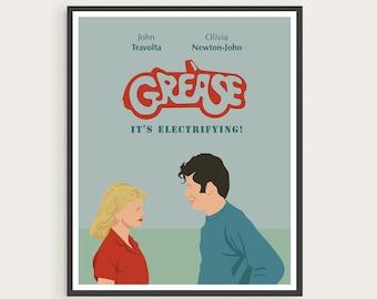 GREASE (1978), John Travolta,  Olivia Newton-John, Minimal Movie Poster.