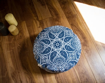 Pouf Zafu Blue Mandala Meditation cushion cotton organic Buckwheat washable floor pillow with lining handmade by Creations Mariposa