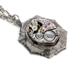 Steampunk Vintage Watch Octagon Bezel Necklace