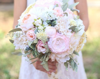 Silk Bride Bouquet Cream and Pale Pink Roses and Peonies Wildflowers Natural Bouquet Shabby Chic Vintage Inspired Rustic Keepsake (1003)